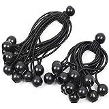 30 stuks spanrubbers met kogel, zwart, 12 cm + 18 cm, expanderlus, zeilspanners, tentelastieken, rubberen lussen met bal, ten