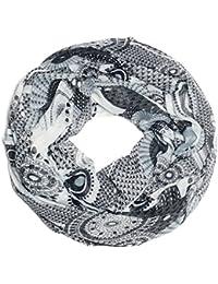 Kandharis Loop Ethno Muster Schlauchschal mit bunten Kreisen, Punkten und Blumen XLR