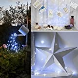 Criacr Solar Powered String Lights, (100 LED 2 Modes) Starry Fairy Lights, 33 ft/10m Solar Fairy Lights, Waterproof 1.2 V Portable with Light Sensor for Patio, Garden, Home, Wedding, Party (White) Bild 1