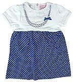 Chloe Louise bébé Filles Bordure en Dentelle Pois Robe Robe en Coton Tailles à partir de Nouveau-né to 9 Mois - Bleu, 6-9 Months