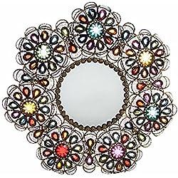 Espejo de Pared de Metal Forma de Flor Diseño Étnico con Gemas Hogar y Más
