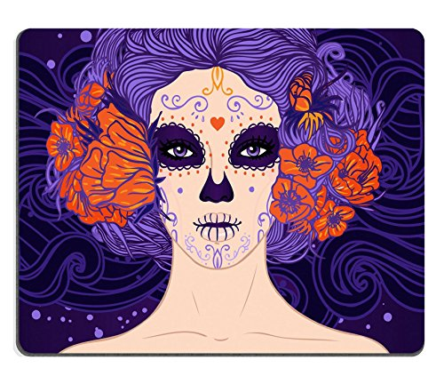 autschuk Mousepad Bild-ID: 24586896 Young Pretty Mexican Sugar Skull Girl mit Blumen in Ihr Haar und Scary Make Up für Tag der Toten Dia de los Muertos oder Halloween (Sugar Skull Girl Halloween)