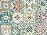 The Nisha Adhesivo de Pared Salpicadero de Vinilo Azulejos Adhesivos Arte Ecléctico para la Cocina, Juego de 24 Adhesivos, 10x10 cm, Belleza Veneciana