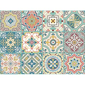 Topmail 10pcs Retro Removable Tile Stickers 6x6 Inches For