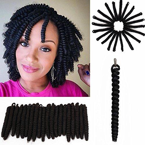 3 Packs Eunice Hair Curlkalon Toni Curl Synthetik Ombre Flechten Haar Zöpfe Gratis Haken Geschenk Kanakalon Crochet Zöpfe Bouncy Gelockt Toni Locken 20 Roots/Pack(20 inch, schwarz)