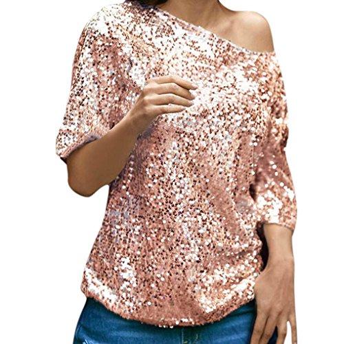 Koly Lentejuelas para Mujer Chispa Mitad Manga Sólida Rosa Medio sin Tirantes Oblique Casual Party Parte Superior Tops Camiseta Sudaderas Mujer Blusa Ropa Deportiva (XL, Pink)