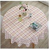 Cystyle Wasserdicht und ölbeständig Haus Dekor Baumwolle und Leinen Runde Oval gedruckt Floral/Streifen Tischdecke (Stil 8, Durchmesser 160cm)