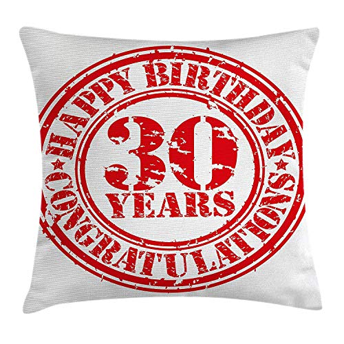 30th Birthday Decorations Throw Pillow Cushion Cover, Grunge Rubber Stamp Congratulation Retro Old Fashioned Design, Decorative Square Accent Pillow Case, 18 X 18 Inches, Red White Square Double Old Fashioned