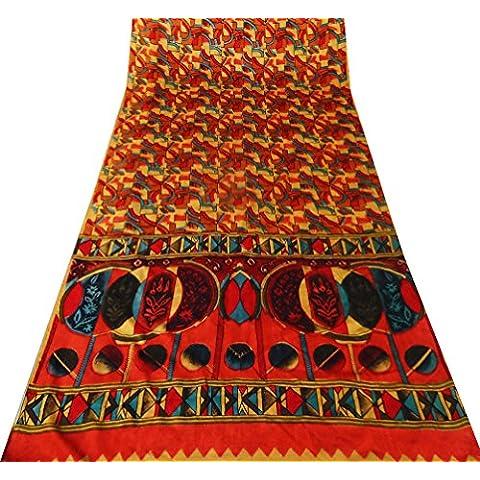 annata di seta indiana sari arte artigianale materiale estratto copre la tenda stampata usato realizzato materiale giallo arredamento casa - Arte Seta Tende