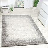 Paco Home Teppich Meliert Modern Webteppich Hochwertig Mit Bordüre Beige Creme Grau, Grösse:160x230 cm