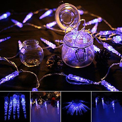 VINGO LED Eiszapfen Eisregen Eiszapfen Weihnachtslichterkette 31V Lichternetz Blau Lichterkette sternenklar für Weihnachtsfest Hochzeit Schaufenster (10M 40 Leds)
