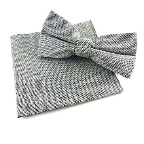 GOOD.designs Set - gebundene Baumwoll-Fliege mit Einstecktuch in verschiedenen Farben, Accessoires für Herren (Grau)