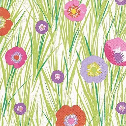 Caspari Servietten, Motiv mit Blumen und Gräser, Papier, grün, 16,5x 16,5x 3cm