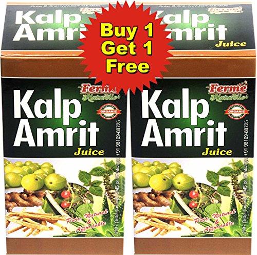 Farm Naturelle (Farm Natural Produce) The Finest 800 ML Kalp Amrit Ras Juice-Organic Herbal , 2x400 ML  available at amazon for Rs.257