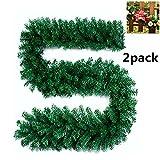 Künstliche Weihnachtsgirlande / Tannenzweig-Dekoration, Grün, für Kamin Treppe Weihnachtsbaum Garten, 270cm 2pack