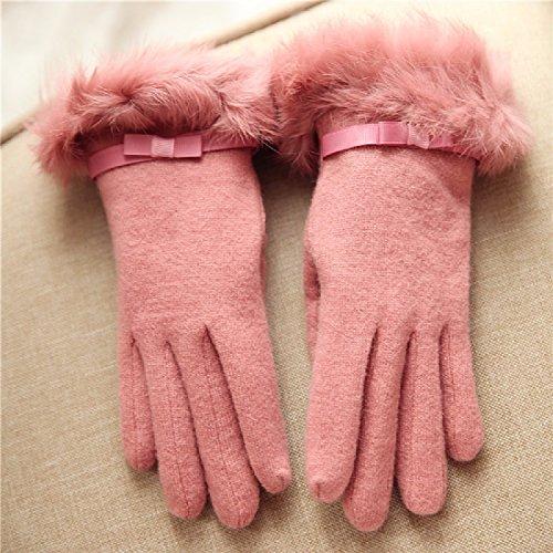 UZI-Il Coniglio tiepido Guanti di pelliccia di colore solido lana di prua maglia di lana si riferisce al signore ispessita guanti,Rosa