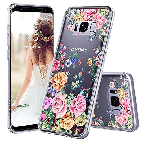 MOSNOVO Galaxy S8 Hülle, Blossom Blühen Blumen Flower Muster TPU Bumper mit Hart Plastik Hülle Durchsichtig Schutzhülle Transparent für Samsung Galaxy S8, Galaxy S8 Case (Rose Garden)