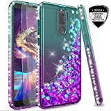 LeYi Hülle Huawei Mate 10 Lite Glitzer Handyhülle mit Panzerglas Schutzfolie(2 Stück),Cover Diamond Rhinestone Bumper Schutzhülle für Case Huawei Mate 10 Lite Handy Hüllen ZX Gradient Turquoise Purple