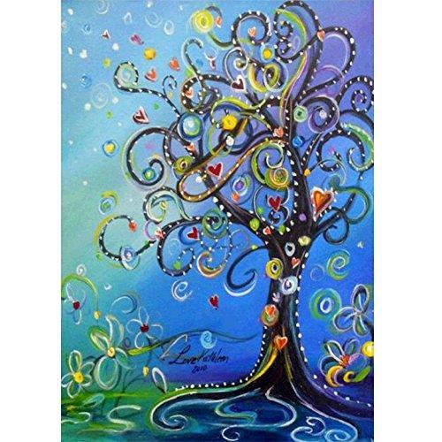 MXJSUA DIY 5D Kit de Pintura de Diamante Completo Taladro Redondo Cristal Rhinestone Bordado Imágenes Arte Craft para hogar Decoración de Pared Regalo geométrico Corazón árbol 12 x 16 in