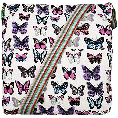 Miss Lulu Borsa messenger borsa da donna borsetta da donna bolse a tracolla borsa da scuola per ragazza Butterfly Pink