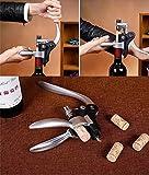 Wein Korkenzieher,Smaier Edelstahl-Rotwein-Flaschen-Öffner-Flügel Korkenzieher, Belüfter, Thermometer, Stopper und Zubehör-Set mit dunklem Kirschholz Case – 9 Stück - 5