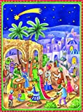 Großer Adventskalender 24Türen 355x 260mm–Krippe, groß Krippe Adventskalender–3Kings Besuchen Sie Jesus–mit Glitzerelementen und durchsichtigen Fenstern–RS 70121
