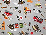 Minerva Crafts Cars & Fahrzeuge Print Stretch Jersey Knit Kleid Stoff grau, Pro Meter