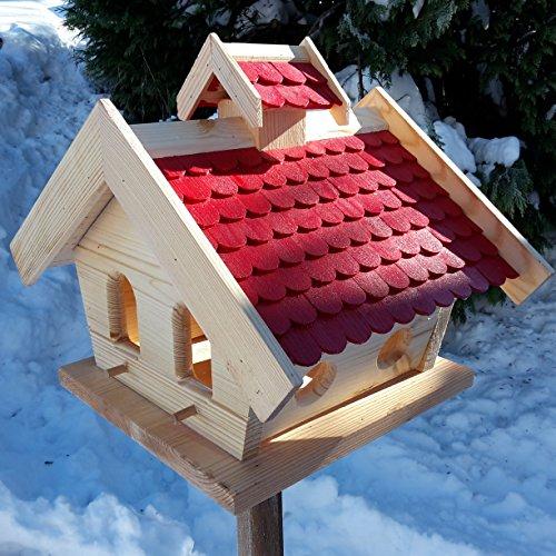 Vogelhaus-XXL mit Holzschindeln und Putzklappe lasiert Vogelhäuser-Vogelfutterhaus großes Vogelhäuschen-aus Holz Wetterschutz (Rot)