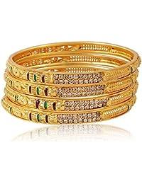 Royal Gold Plated Crystal Diamond Studded Bangle/Kadda/Kangan For Women & Girls Set Of 4