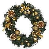 matches21 Dekorierter Türkranz / weihnachtlich goldfarben dekoriert / warmweiße LED Beleuchtung Ø 30 cm Weihnachtsdeko / batteriebetrieben