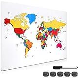 Navaris Memo Board Lavagna Magnetica 40x60cm - Lavagnetta Scrivibile con Calamite - Bacheca Parete Cancellabile 5 Magneti 1 Pennarello - World Map