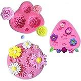 mciskin Moldes de fondant de pastel de flores,mini Moldes de Silicona de Flores,Molde de flores rosas,Moldes de flores,Decora