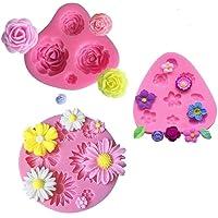 mciskin Fleur gâteau Fondant Moules, Moules en silicone, Mini Fleur roses Fleur de marguerite Moules pour Jelly Sucre…
