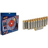 Nerf Elite Cible Electronique, 11509 & Amazon Basics Lot de 20 piles alcalines Type AA 1,5 V 2875 mAh (design variable)