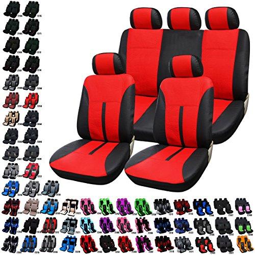 Preisvergleich Produktbild Woltu AS7293-a Auto Sitzbezug Sitzbezüge Schonbezüge Universal komplettset Kunstleder Schwarz/Rot