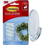 Command Plastic Medium Self Adhesive Damage free Wall hanging Hooks Personal décor, Holds 900 gm, (2 hooks, 4 strips), No Dri
