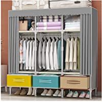 Garde-robe Armoire Simple Tissu Armoire Double Accueil Chambre avec tiroir Rangement Rangement Tissu penderie Grand…