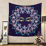 Morbuy Wandteppich mit indischem Stil Tapisserie Sonne und Mond Design Motiv Wandbehang aus Polyster Wandtuch Tischdecke Meditation Strandtuch Yogamatte (Klein (130 x 150cm), Psychedelisches Auge)