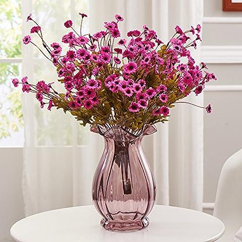 qwer Continental creative colore trasparente vasi di vetro kit floreali fiori artificiali di emulazione salone fiore ornamenti , viola vasi +3 supporta la Red Hill