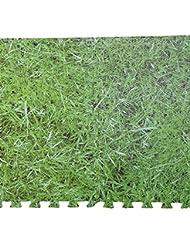 Effet herbe Eva Tapis de dalles de sol à emboîter en mousse souple Protection Kid Jouer Chambre intérieur ou extérieur résistant à l'eau