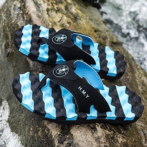 pantoufles hommes d'été, tongs, pantoufles de plage, des semelles en caoutchouc, pantoufles antidérapantes Blue