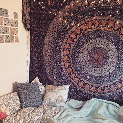 Mandala Hippie Tapestry, Wall Hanging, handicrunch Popular Handicrafts Hippie Mandala Bohemian Sondermodell - Psychedelic Intricate Finish by Craftozone