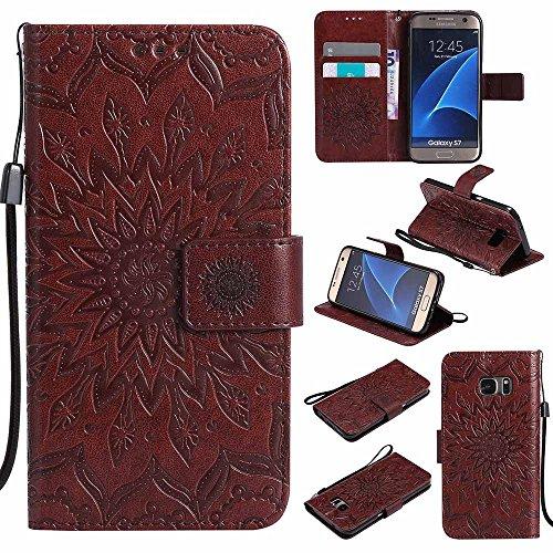 Blu Magnetica Samsung Dfly Mandala S7 Cover Custodia Galaxy Premium Portafoglio Super Chiusura Flip Galaxy S7 Pelle per Protettiva Sottile Custodia Marrone PU Design Goffratura vHBwYqE