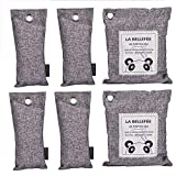 LA BELLEFÉE Natural Air Purifying Bags Reusable Air Odor Absorber and Eliminator, Cupboard, Wardrobe Dehumidifier, Deodorizer, Car Air Freshener, 6 packs (2 x 200 g, 4 x 75 g)