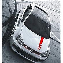 Pegatina autoadhesiva con diseño de rayas de rally y bandera de carreras, estilo tuning, 80 x 10 cm, color rojo.