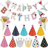 Lictin Decorazione Compleanno 'Happy Birthday' - Decorazione Festa di Compleanno, Striscione 'Happy Birthday' con 9 Cappelli 2 Corone e 10 Cupcake Topper