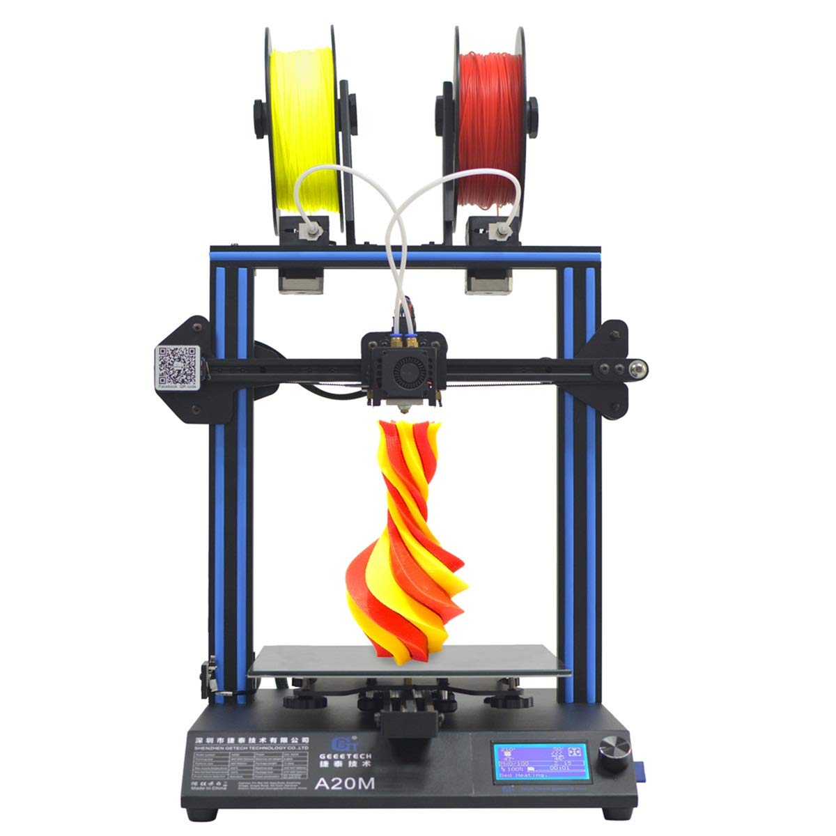 GEEETECH A20M Imprimante 3D avec impression Mix-Colore, base de bâtiment intégré, design double extrusion, Prusa I3 Montage rapide DIY-Kit