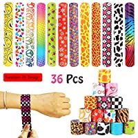 VCOSTORE 36 Pcs Slap Bracelets, Slap Wrist Bands for Birthday Party and Gift Bag Fillers, Kids Snap Bands with Colorful Hearts Animal Emoji Prints