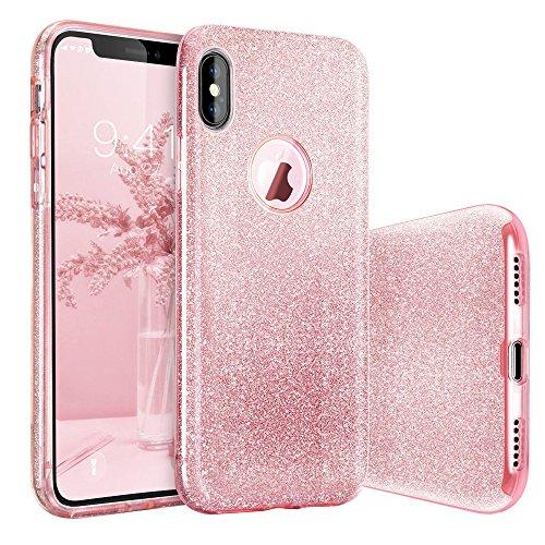 Cover Custodia iPhone X, Basstop ibrido a tre strati stile sottile di lusso Bling Bling Glitter sparkle Custodia protettiva shock copertura per Apple iPhone X (Rosa)