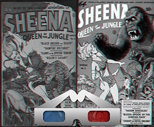 Sheena. 3D Anaglyph Issues 2 and 3. Queen of the jungle. Includes Black Orchid of death, vampire vultures, claws of spotted terror, killers safari, harem ... of devil drums and more. (English Edition)